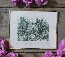 Cactus Nopal & Agave Landscape Etching Print Framed Mexican Folk Art by Abelar