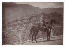 PHOTO ANCIENNE Cheval Cavalier Équitation Curiosité Déguisement 1900 Profil