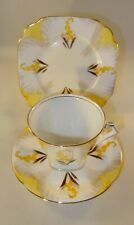 Art Deco Alfred Pearce Yellow Gilded Floral Trio Cup Saucer Side Plate c1930 VGC