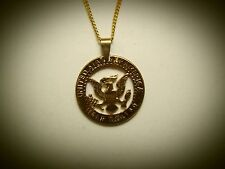 Hand Cut Kennedy 50 Cent Coin 24 kt gold Plated and mounted as a Necklace