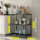 Kitchen Trolley Cart 3/4 Tiers Foldable Rolling Storage Rack White Black