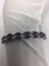 Vintage Genuine Blue Iolite Natural Gemstones 925 Sterling Silver Bracelet