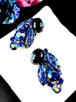LUSH JULIANA D&E SILVERTONE SAPPHIRE BLUE FOIL CABOCHON RHINESTONE CLIP EARRINGS