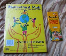Vintage 1993 Multicultural Construction Paper and Crayola Colored Pencils