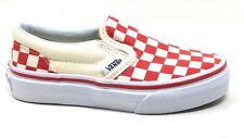 Vans Girls Classic Slip-On Sneakers Shoes Checkerboard Check Red Size 11K
