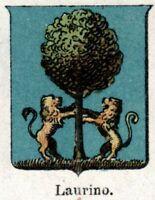 Laurino: Piccolo Stemma del 1901.Cromolitografia.Stampa Antica.Passepartout.1901