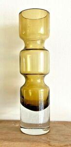 1960's Aseda Sweden hooped amber & clear art glass vase designed by Bo Borgstrom