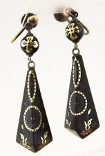 Antique Victorian Pique Earrings Gold Silver Jewellery Jewelry Long Drop Rolled