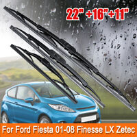 Front & Rear Windscreen Wiper Blades For Ford Fiesta 2001-2008 Finesse LX