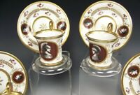 ANTIQUE SEVRES IMPERIAL ROMAN INTAGLIO PAINTED TEA CUPS & SAUCERS SET (8 Pieces)