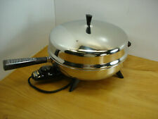 "Vintage Farberware Electric Fry Pan 310–A Stainless Steel 12"" Skillet Dome Lid"