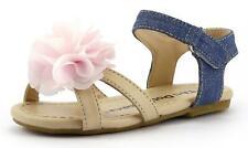Summer Demin Chifon Floral Girl's Sandal Shoes Blue or Pink Strap Toddler size