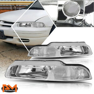 For 95-00 Chrysler Cirrus/Dodge Stratus Headlight/Lamp Chrome Housing Clear Side