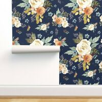 Removable Water-Activated Wallpaper Winter Floral Flowers Boho Plum Fall