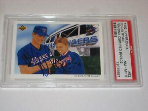 NOLAN RYAN (Texas Rangers) Signed 1992 UPPER DECK Card #92 PSA Encapsulated NM 8