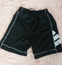 Adidas Shorts Lined Black White Athletic Mesh Sides Applique Side Panel Detail S