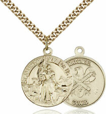 14k Gold Filled St Joan of Arc Nat'l Guard Military Catholic Medal Necklace