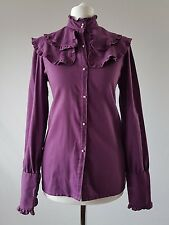 Vintage Shirt Cotton Blouse Victorian Edwardian Purple Frill Secretary 50s 12-14