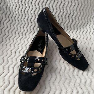 Michael Kors Black Slip On Square Toe Suede Patent Leather Buckle Flats Sz 6M