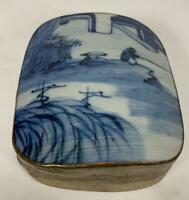 "Vintage Chinese Porcelain Shard Silver Plated Blue & White Box 6"" x 6"" x 2"""