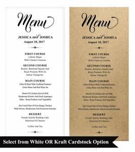 20 Wedding Menu Cards Custom Rustic Dinner Menu Prints-DS-JSP39