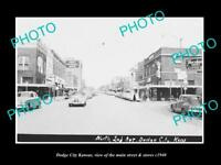 OLD LARGE HISTORIC PHOTO OF DODGE CITY KANSAS, THE MAIN STREET & STORES c1940