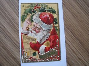 Santa Antique Christmas Postcard Red Robe Smoking Pipe 1911 Postmark