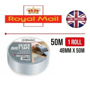 """DUCK DUCT GAFFA GAFFER WATERPROOF CLOTH SILVER TAPE Top Quality 2"""" 48MM x 50M"""