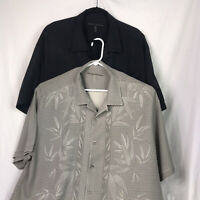 Men's Tommy Bahama Silk Shirts Lot of 2 Floral Design Size XLX Gray/Black
