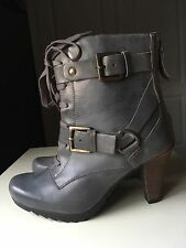 Clarks Grey Leather Softwear Ladies Ankle High Heel Shoe Military Boot Size 4.5