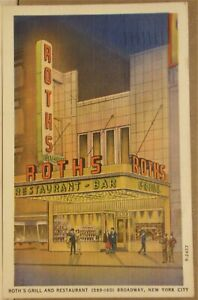 Roths Grill and Restaurant New York City Postcard 1930 - 45