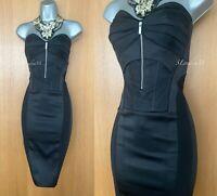 Karen Millen UK 10 Black Satin Front Zip Corset Cocktail Cruise Strapless Dress