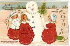 Christmas Greetings Snowman HTL Hold to Light old pc used Milton