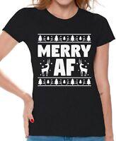 Merry AF Shirt Merry AF Tshirt Christmas Shirts Women's Ugly Christmas T-Shirt