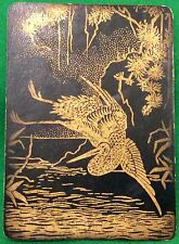 Playing Cards 1 Single Swap Card - Antique Wide Lacquer FLYING CRANE BIRD black
