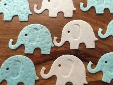 24 WHITE BLUE Edible rice paper baby elephant cake cupcake toppers PRE CUT