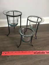 Set of 3 Tiered Vases or Candle Holders-Iron with Glass Cups