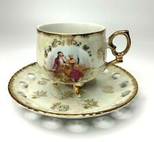 Vintage Lustreware Tea Cup and Saucer Victorian Couple 3 Footed Made in Japan