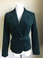Emerald Green Velvet Jacket Coat Fitted Lined Talbots Womens Size 10 P