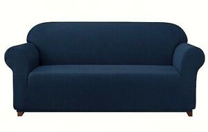 Subrtex Stretch 1 Piece Textured Grid XL Sofa Slipcover Navy Color