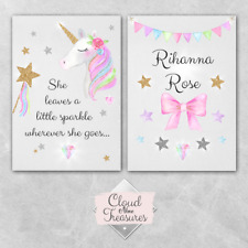 Unicorn DOUBLE PRINT ONLY a4 sparkle pink wall art girly bedroom personalised
