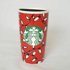 Starbucks Coffee Mug Cup Travel Christmas Lights Ceramic 2016 Lid Red 12 Oz