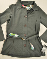 women's Ava & Grace jacket size small gray button front collar long sleeve cotto