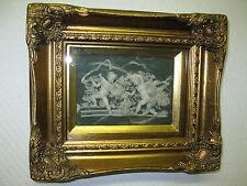 Bild Engel Relief Jade Imitation hinter Glas Goldrahmen 31 cm x 26 cm
