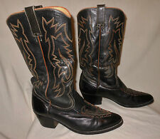 Vtg Men's Cowboy Boots Fancy Stitching Pointy Toe Samello Rockabilly Size 8