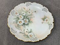 Antique Pierced Porcelain Cabinet Plate w/ White Flowers Signed K. Connor
