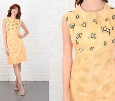 Vintage 60s Yellow mod Dress Beaded Paisley Cocktail Party Small S