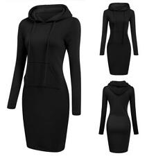 Women Fashion Slim Hooded Long Sleeve Solid Pencil Hoodie Dress B0N 06