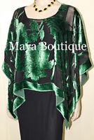 Silk Burnout Velvet Poncho Kimono Top Emerald & Black No Fringe Maya Matazaro