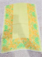 """Vintage sheer silk hand rolled yellow floral print rectangular scarf 15"""" x 42"""""""